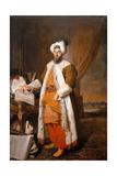 Portrait of Mehemet Said Pacha, Bey of Rumelia, Special Ambassador of the Ottoman Sultan Mahmoud II Giclée-tryk af Jacques-Andrè Joseph Aved