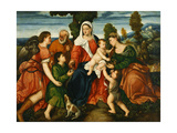 The Holy Family with Tobias and the Angel, Saint Dorothy Giclée-Druck von Bonifacio Veronese