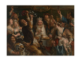 The King Drinks Giclee-trykk av Jacob Jordaens