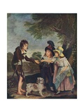 Portrait of Sir Francis Ford's Children Giving a Coin to a Beggar Boy, Exhibited 1793 Giclee Print by Charles Wilkinson