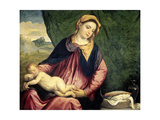 Madonna with Sleeping Child, Between 1540 and 1560 Giclée-tryk af Paris Bordone