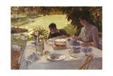 Breakfast in the Garden Giclée-tryk af Giuseppe De Nittis