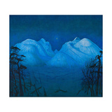 Winter Night in the Mountains Giclee Print by Harald Sohlberg