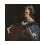 Self-Portrait as a Lute Player Giclee-trykk av Artemisia Gentileschi