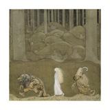 The Princess and the Trolls Giclée-tryk af John Bauer