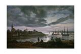 Larvik by Moonlight Giclée-tryk af Johan Christian Clausen Dahl