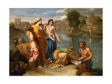 Moses Saved from the Water Stampa giclée di Nicolas Poussin