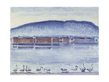 Lake Geneva with Mont Salève and Swans Giclee Print by Ferdinand Hodler