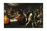 Gladiator Fights at a Banquet Giclée-tryk af Giovanni Lanfranco