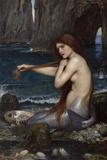 A Mermaid Giclée-tryk af John William Waterhouse