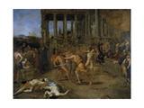 Gladiator Fights Giclée-tryk af Giovanni Lanfranco