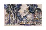 Cypresses in Sainte-Anne (Sainttrope) Giclee Print by Paul Signac