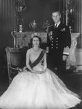 HM Queen Elizabeth II and Hrh Duke of Edinburgh at Buckingham Palace, 12th March 1953 Fotografisk trykk av Sterling Henry Nahum Baron