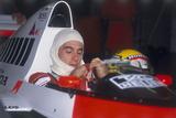 Ayrton Senna in His Mclaren-Honda, British Grand Prix, Silverstone, Northamptonshire, 1989 Fotografisk tryk