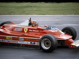 Gilles Villeneuve Racing a Ferrari 312T5, British Grand Prix, Brands Hatch, 1980 Fotografie-Druck