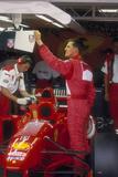 Michael Schumacher with Ferrari, British Grand Prix, Silverstone, Northamptonshire, 1997 Fotografie-Druck