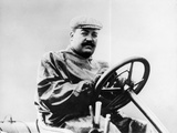 Vincenzo Lancia at the Wheel of a Car Photographic Print