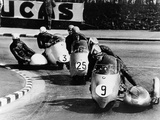 Fritz Scheidegger, Walter Schneider and Helmut Fath Competing in a Sidecar Race, 1959 Photographic Print