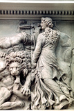 Detail from the Great Frieze of the Pergamon Altar, 180-159 BC Fotografisk tryk