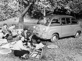 People Enjoying a Picnic Beside a 1956 Fiat 600 Multipla, (C1956) Photographic Print