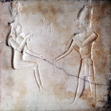 Bas-Relief Showing the Gods Isis and Osiris, Ptolemaic Period, Ancient Egypt, 323-30 BC Lámina fotográfica