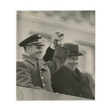 The Cosmonaut Yuri Gagarin and Nikita Khrushchev on Lenin's Mausoleum Tribune Giclee Print