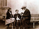 Leo Tolstoy, Russian Writer, Philosopher and Mystic, Telling His Grandchildren a Story, C1890-1910 Photographic Print
