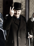 Winston Churchill Making His Famous V for Victory Sign, 1942 Premium Photographic Print