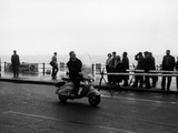 A Man on a Lambretta Scooter, Taking Part in the Daily Express Rally, 1953 Reproduction photographique
