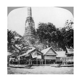 Dhows and Houses on the Chao Phraya River, Bangkok, Thailand, 1900s Reproduction procédé giclée