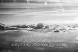 Cloud Formation from Out a Plane Window in Black and White with Dr. Seuss Quote Fotografía
