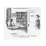 """""""A Mr. Squirrel Nutkin and a Mrs. Tiggywinkle are here to see you."""" - New Yorker Cartoon Premium Giclee Print by Henry Martin"""