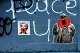 Marilyn Monroe and Biggie Graffiti on Blue Brick Wall in Brooklyn NY Foto