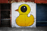 Yellow Duck on Brick Wall in Brooklyn NY Foto