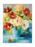 Flowers in Teal Vase 1 Reproduction giclée Premium par Lanie Loreth