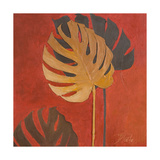 My Fashion Leaves on Red I Giclée-Premiumdruck von Patricia Pinto