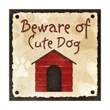 Beware of Cute Dog Premium Giclee Print