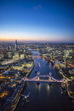 Night Aerial View of the Shard, River Thames, Tower Bridge and City of London, London, England Reproduction photographique par Jon Arnold