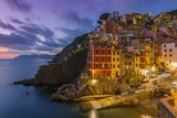 Dusk View of the Colorful Sea Village of Riomaggiore, Cinque Terre, Liguria, Italy Photographic Print by Stefano Politi Markovina