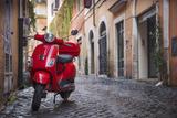 Italy, Lazio, Rome, Trastevere, Red Vespa Photographic Print by Jane Sweeney