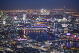 Night Aerial View over River Thames, City of London, the Shard and Canary Wharf, London, England Fotoprint av Jon Arnold