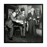 Charles Aznavour, Fernandel and Michel Simon at the Orange and Citron Price, 28 October 1969 Fotoprint van Marcel Begoin