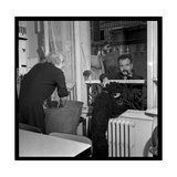 Georges Brassens Playing the Guitare at Home Fotoprint van Marcel Begoin