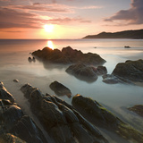 Sunset on Barricane Beach, Woolacombe, Devon, England. Summer Reproduction photographique par Adam Burton