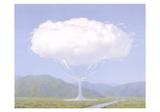 Skyer i et glass Poster av Rene Magritte