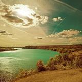 Fall Riverside Ladscape View Fotografisk trykk av Alexey Rumyantsev