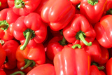 Pile of Fresh Red Bell Peppers at Farmer's Market Photographic Print by Christin Lola