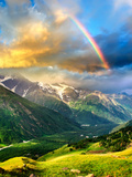 High Mountain during Sunset. Beautiful Natural Landscape Bedruckte aufgespannte Leinwand von Biletskiy Evgeniy