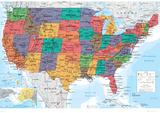 Carte des Etats-Unis Affiche