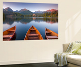 Rowing Boats and Mountains Beneath a Twilight Sky, Strbske Pleso Lake in the High Tatras, Slovakia Wall Mural by Adam Burton